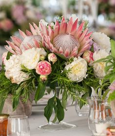 Romantic Flower-Filled Tuscan Wedding Protea and garden rose centerpiece: www. Protea Wedding, Floral Wedding, Wedding Bouquets, Wedding Flowers, Protea Centerpiece, Rose Centerpieces, Romantic Flowers, Romantic Weddings, Destination Weddings