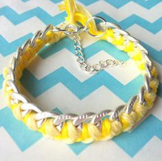 Matte Silver and Canary Yellow Braided Chain Bracelet. $8.00, via Etsy. Getting this for Endometriosis Awareness Month