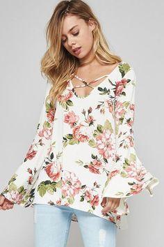 Flower Print Bell Sleeve Top