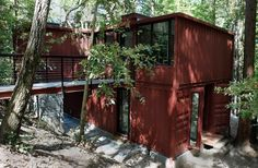 red shipping container house
