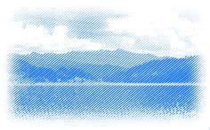 Line halftone lake image