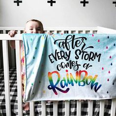 After Every Storm Comes A Rainbow Baby V2 Blanket  Minky  30