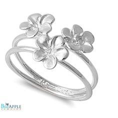 12d4d9ef5 3 Clover Leaf Ring Solid 925 Sterling Silver Three Clover Leaf Simple Plain  Opel Split Shank Clover Leaf Ring Sizer 4-16 Beautiful Gift