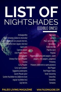 List of nighshades. Avoid these when on Auto Immune Paleo, Record of nighshades. Keep away from these when on Auto Immune Paleo Record of nighshades. Keep away from these when on Auto Immune Paleo Record of ni. Autoimmune Diet, Aip Diet, Ketogenic Diet, Hashimotos Disease Diet, Hypothyroidism Diet, Thyroid Diet, Ulcerative Colitis, Thyroid Disease, Candida Diet