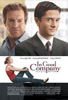 """Is Dennis Quaid too old for this stuff? Dan is a senior salesman for a sports magazine. He's also 51. When a new company buys the magazine, a younger guy, Carter (Topher Grace), takes over as boss and Dan is demoted. Bad company: Carter meets Dan's family and falls for his daughter, played by Scarlet Johansson (""""Venom bites the Black Widow!"""")"""