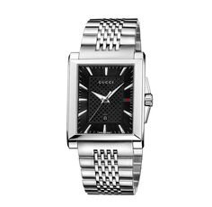 G-Timeless Collection Rectangle Watch: 33 x 32mm medium stainless steel case | black sun-brushed dial with diamante pattern center and signature web | stainless steel bracelet with three-blade deployment buckle | YA138401 | swiss made
