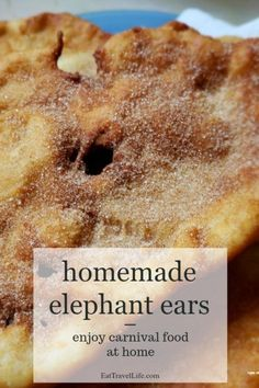 Love carnival or fair food? Bring carnival food to your home with this elephant ear recipe. This is perfect snack when you want fair food, but can't get to one because the fair isn't around. Baking Recipes, Cake Recipes, Snack Recipes, Dessert Recipes, Snacks, Bread Recipes, Yummy Recipes, Carnival Eats Recipes, Carnival Food