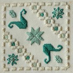 Fabric: 22ct Ivory Oslo Threads: DMC perle #5 & #8 & stranded cotton (712, 3813, 3814)