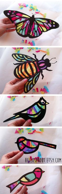 Kids Craft Butterfly and Dragonfly Stained Glass Suncatcher Kit with Birds, Bees, Using Tissue paper, Arts and Crafts Kids Activity, project is part of Tissue Paper crafts - www hellosprout etsy com Diy Crafts For Kids, Projects For Kids, Fun Crafts, Craft Projects, Paper Crafts Kids, Kids Diy, Craft Ideas, Nature Crafts, Kids Craft Kits