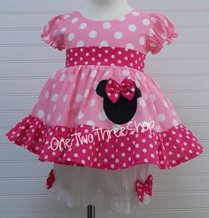 Custom Boutique Clothing Minnie Mouse Med  Bubble gum Small Hot Pink Bloomers Set