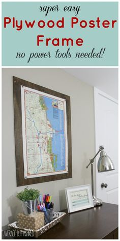 """Give your large scale art a pretty """"frame"""" with this easy DIY plywood poster frame project! You don't even have to cut the wood yourself! Find out all the details on how to """"frame"""" your art in under 10 minutes!"""