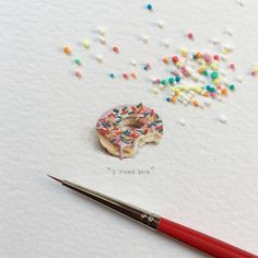 Added some finishing touches to this guy I painted on #NationalDonutDay for day 92/100 (23/25 #freefridays) : Donut. 17 x 14 mm. And yes, it kills me that those aren't the right sprinkles. Fun fact though: we call them hundreds-and-thousands here...