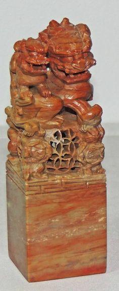 Red Soapstone Blocks : Old chinese chop block foo dog soap stone signature seal