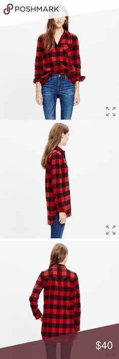 """Madewell Ex-BF Shirt in Buffalo Check Sz Small Super soft, slightly oversized flannel shirt in buffalo check. Cotton. Fits true to size. Has Hi-low hem and chest pocket. Armpit to armpit measures 18.5"""" across. Length of front is 25.75"""" and back is 28"""". Good condition. No trades or PayPal. Madewell Tops Button Down Shirts"""
