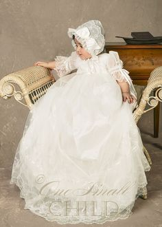 Natalia Christening Gown: a luxurious silk undergown topped with a delicate lace overgown, so truly beautiful!