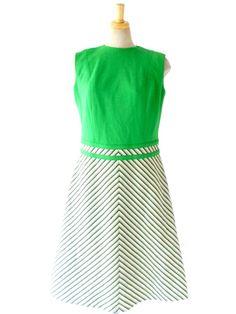 ヨーロッパ古着 ロンドン買い付け 60年代製 グリーン X アイボリー ストライプスカート Aライン ワンピース : 12BS801
