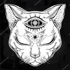 Awowee Flax Throw Pillow Cover Black Cat Head Portrait Moon and Three Eyes Third Inches Pillowcase Home Decor Square Cotton Linen Pillow Case Cushion Cover Tattoo Gato, 4 Tattoo, Tattoo Drawings, Art Drawings, Logo Animal, Psychedelic Art, Third Eye, Cat Art, Piercings