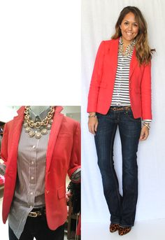 casual Friday outfit: orange blazer, striped shirt, cheetah print belt and heels along with jeans