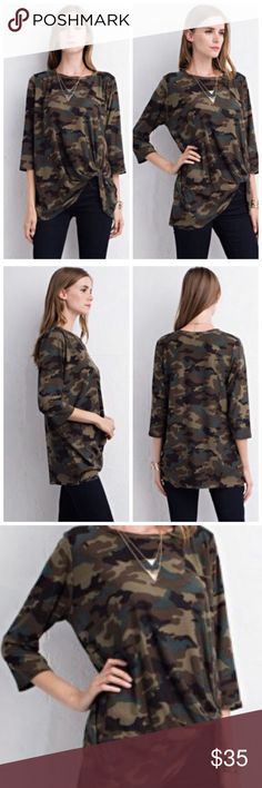 Camo Top with Twist Detail Army Top in Olive featuring twisted detail on bottom. Unlined. Non-sheer. Lightweight Tops