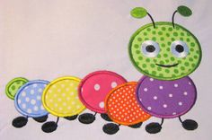Cute Crawling Bug 05 Machine Applique Embroidery by KCDezigns Applique Templates, Applique Embroidery Designs, Machine Embroidery Applique, Applique Patterns, Applique Quilts, Hand Embroidery, Baby Applique, Baby Quilt Patterns, Sewing Appliques