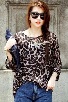 I knew it. It's a very casual look which can make any girl look hot. Yes, Leopard print has always been in vogue and will always be. Wholesale Korea Fashion Leopard Print Chiffon Top from Liverpool Private Reserve features allover leopard print in brown, round neckline in pullover design, kimono sleeves, and leisure loose fit constructed by sheer lightsome chiffon fabric.