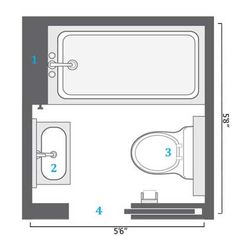 Ada handicap bathroom floor plans for Bathroom design 5x5