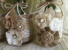 3 burlap and lace mason jar vases wedding bridal by PinKyJubb