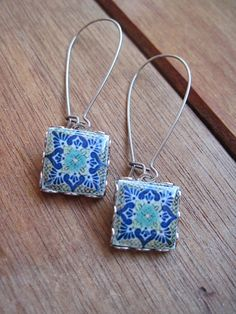 Blue Dangle earrings, Mexican Pottery Talavera design tile jewelry, Boho Mexican folk art drop earrings, Native American, Tribal, handmade