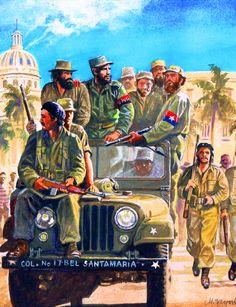 Fidel Castro's triumphant entry to Havana, Cuban Revolution Cold War Propaganda, Propaganda Art, Fidel Castro, Turkish War Of Independence, Political Posters, Freedom Fighters, American War, Communism, Socialism