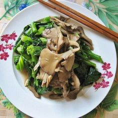 "Maitake Mushrooms with Chinese Broccoli. These mushrooms, claimed to be immunity enhancers are known as ""king of mushrooms"" in Japan."