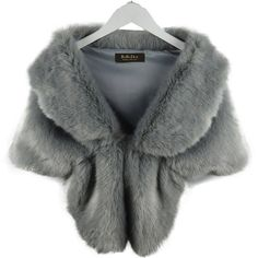 RoRoDox Warm Faux Fur Wedding Shawl Perfect for Wedding/party/show ($33) ❤ liked on Polyvore featuring accessories, scarves, fake fur scarves, faux fur shawl, wrap shawl, grey scarves and gray shawl