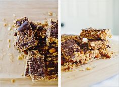 peanut butter granola bars  - sprouted kitchen // I tried these last night and they were wonderful! Super quick and easy to make and they're delicious, too! I multiplied the recipe by 1.5 and put in in a 9 x 13 pan. It made 16 good-sized bars.