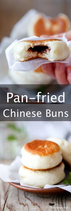 Pan fried Chinese Dou sha buns, sweet red bean paste buns
