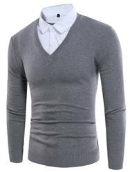 #EricDress - #EricDress Ericdress Color Block Double-Layer Patched Mens Sweater - AdoreWe.com
