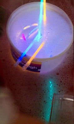 glow stick in the sensory table visit http://www.yourtherapysource.com for more ideas.