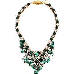 Shourouk Theresa Mini-Sequin and Crystal Necklace in Green (2.075 DKK) ❤ liked on Polyvore featuring jewelry, necklaces, green, swarovski crystal jewelry, green necklaces, drusy jewelry, green jewelry and swarovski crystal jewellery