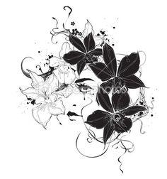 Векторный девочка с черно-белые цветки орхидеи — стоковая иллюстрация #29238175