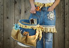 Garden apron & tool caddy (sewing project using old jeans) ~ this would also be useful at a craft / art show.