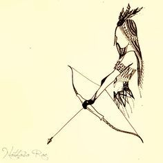 a simple tattoo of a girl with a bow and arrow - Google Search