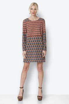 A-Line Dress with Print Dresses With Sleeves, Long Sleeve, Skirts, Sweaters, Pants, Fashion, Trouser Pants, Moda, Skirt