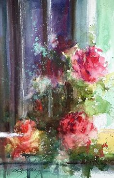 Roses in the Window, Troyan, Bulgaria by Sandy Strohschein Watercolor ~ 16 x 12