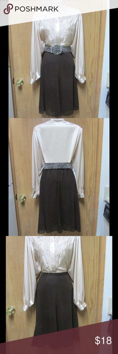 Brown Midi Skater Skirt W/Animal Print Belt Almost New. Soft and comfy material. Gorgeous style and exquisite touch with the belt. Size Medium. Negotiable Price Skirts Midi