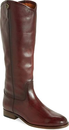 db5a41e3b38 Frye Women s Shoes in Wine Color. A sleek equestrian-inspired boot is made  from