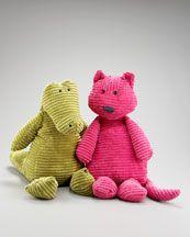 Jellycat Croc and Cat plush dolls.