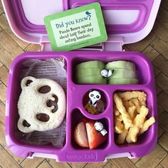 A panda themed Bentgo Kids box packed by my daughter. We even found a matching L. - A panda themed Bentgo Kids box packed by my daughter. We even found a matching Lunchbox Love card fo - Healthy Lunches For Work, Healthy Lunches For Kids, Toddler Lunches, Kids Meals, Work Lunches, School Lunches, Toddler Food, Bento Box Lunch For Kids, Kids Packed Lunch