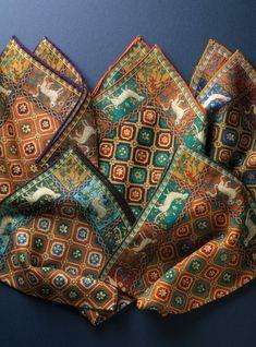Wool and Silk Mosaic Print Pocket Squares