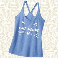 Cat Mom Shirt Cat Mom Tank Top Cat Mom Racerback Tank Top I Love Cats... ($25) ❤ liked on Polyvore featuring tops, grey, tanks, women's clothing, glitter tank top, checkered shirt, grey shirt, metallic gold shirt and graphic tank tops
