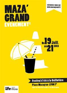 Maza'grand Événement, affiche pour le festival d'été Lyon 7e > Emma Lidbury, graphisme et illustration