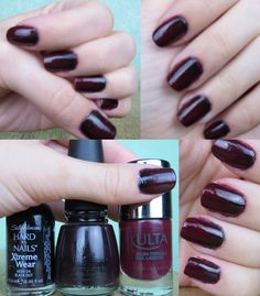 Sally Hansen Hard as Nails in Black Out, China Glaze Nail Lacquer in Evening Seduction & ULTA Nail Lacquer in Deep Desire
