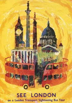 London Transport Museum poster, See London Air France, Abram Games, Trains, London Postcard, London Transport Museum, Public Transport, Sightseeing Bus, Museum Poster, Travel Ads